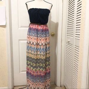 Charlotte Russe Strapless Dress With Brown Belt